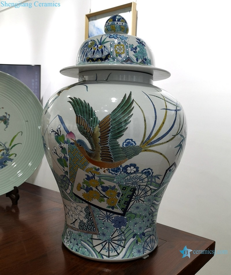 POWER ENAMEL POT WITH MAGPIE AND GENERAL DESIGN