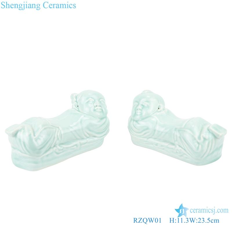RZQW01 Treasured white boy and girl shape decorative ceramic figurine