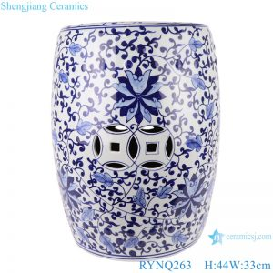 RYNQ263 Chinese blue and white ceramic stool flower design