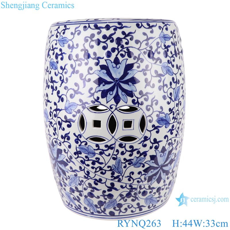 Chinese blue and white porcelain stool flower design