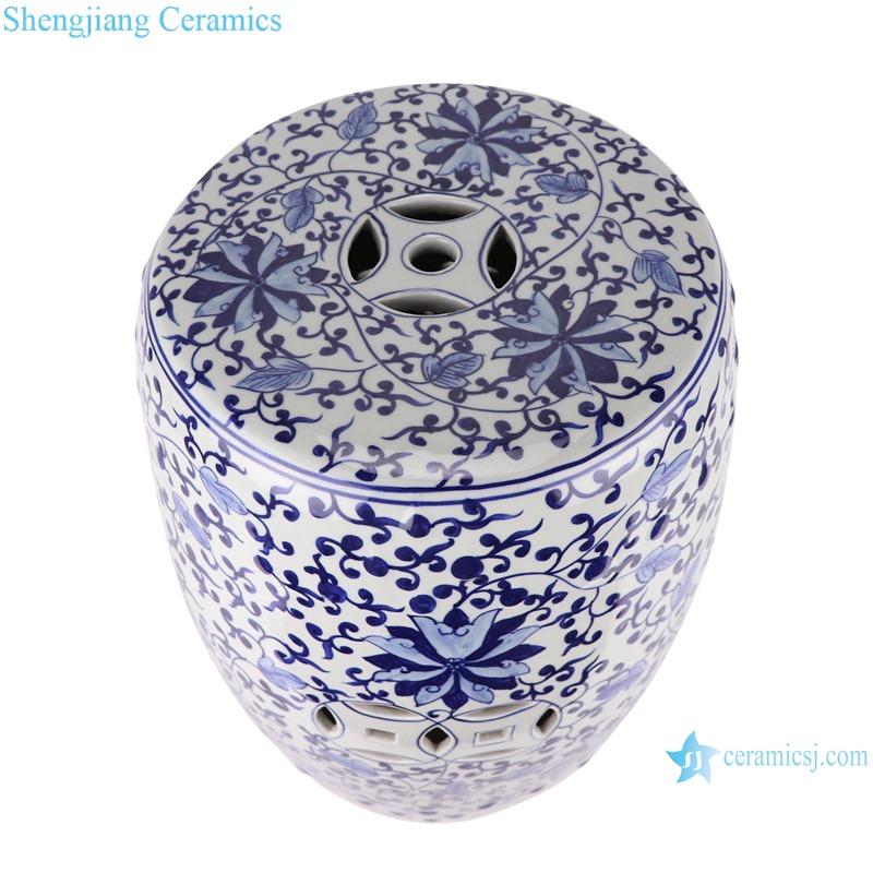 Chinese blue and white ceramic stools flower design