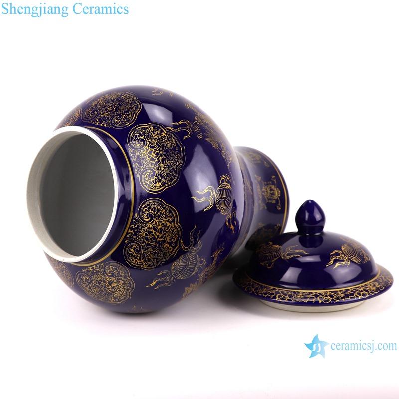 Chinese color glaze ceramic general pot dragon design purple RYRJ19-A