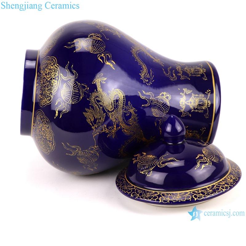 Chinese color glaze porcelain general pot dragon design purple RYRJ19-A