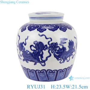 RYUJ31 Chinese handmade blue and white ceramic pot dragon design