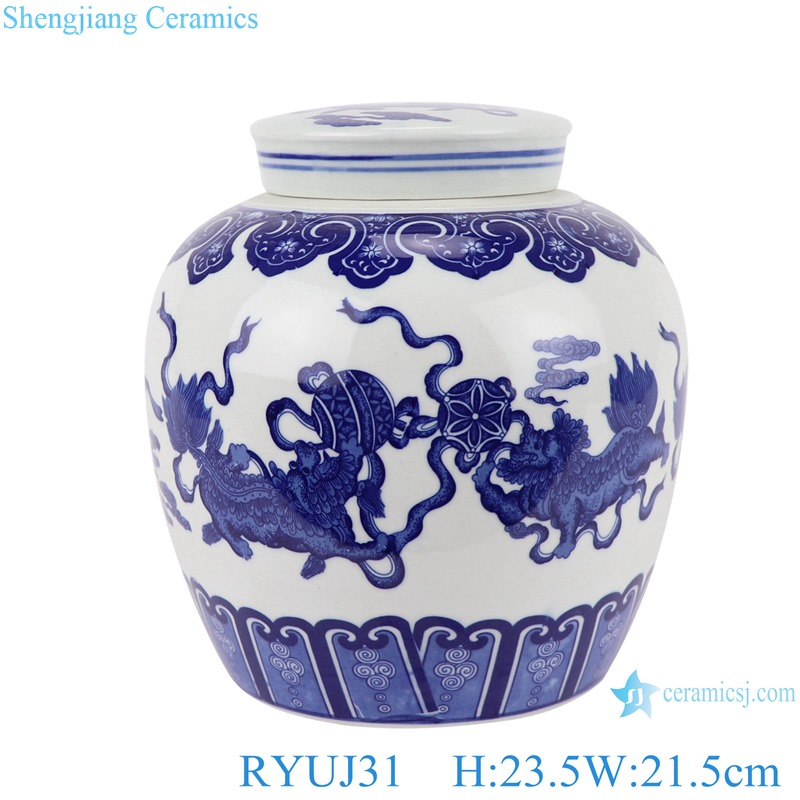 Chinese handmade blue and white ceramic pot dragon design RYUJ31