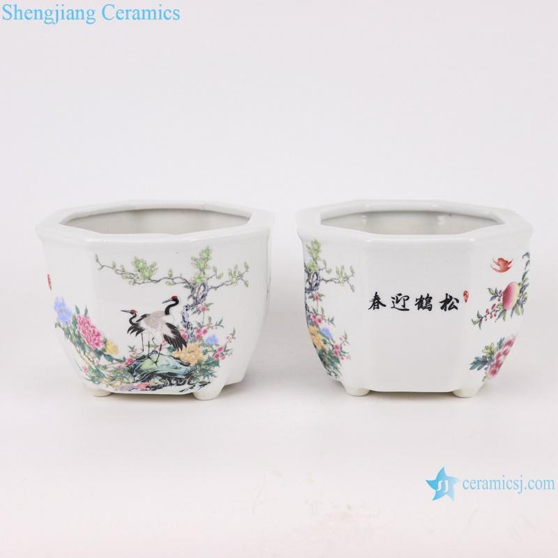 octagon mouth design ceramic planter decoration