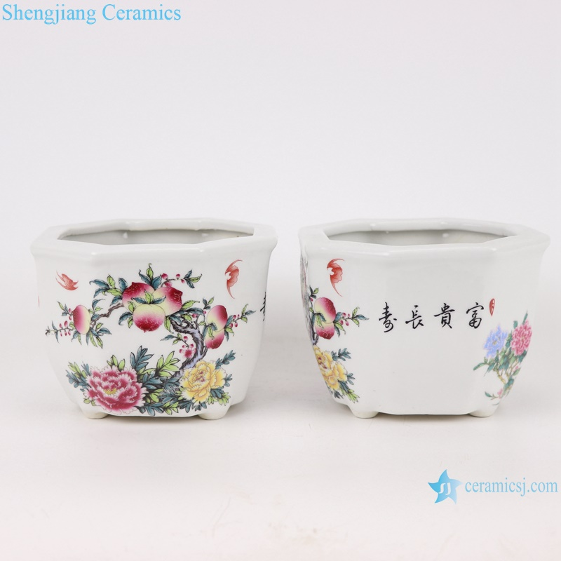 RYXP37-A/B/C /D Chinese octagon mouth shape group ceramic planter decoration