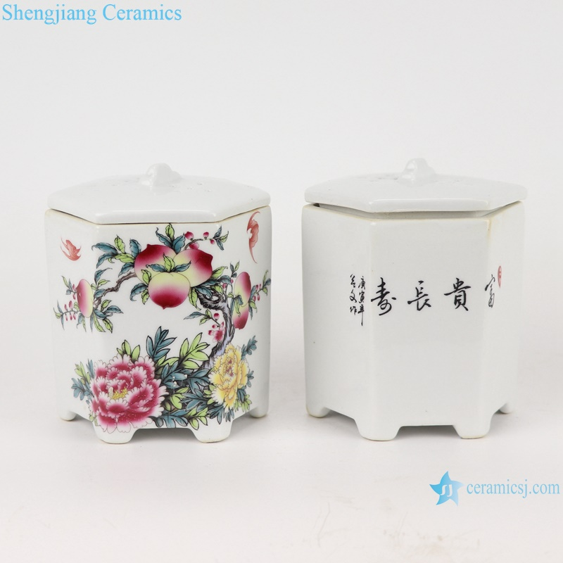 RYXP39- A/B/C Chinese sexangle mouth shape group ceramic planter decoration