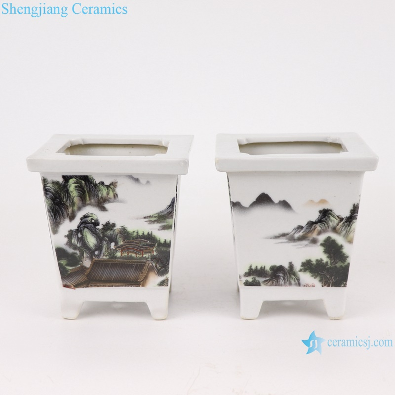 RYXP40- A/B/C Chinese small square mouth shape group ceramic planter decoration