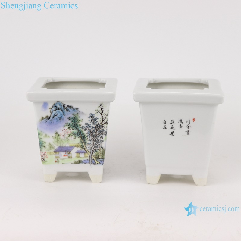 Chinese small square mouth design ceramic planter decoration