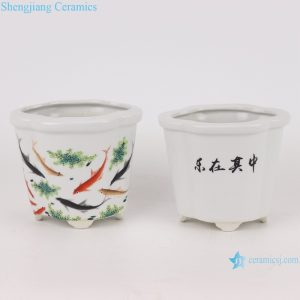 RYXP42- A/B/C small sexangle mouth shape group ceramic planter decoration