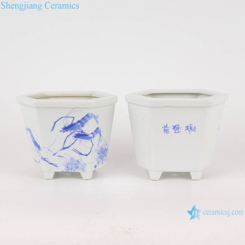 chinese small sexangle mouth ceramic planter decoration