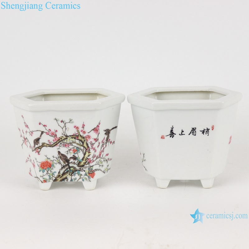 chinese small sexangle mouth design ceramic planter decoration