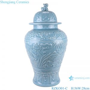 RZKO01-C Chinese light blue azure glaze carving ceramic storage jar