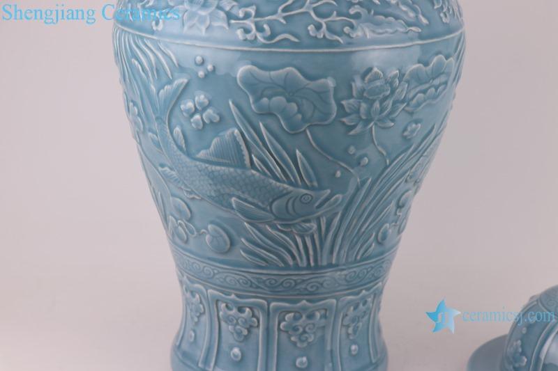 Chinese light blue azure glaze carving porcelain storage jarRZKO01-C