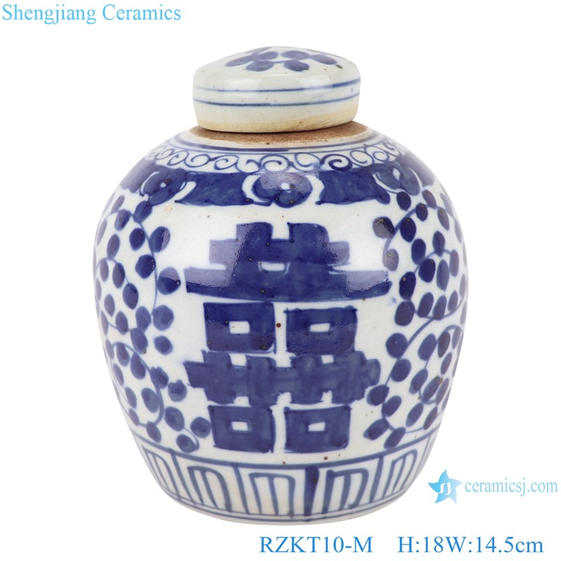 Chinese blue and white twig pattern pottery ceramic happy word pot RZKT10-M