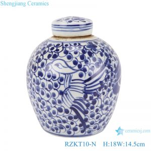 RZKT10-N Chinese blue and white twig phoenix simple picture ceramic pot