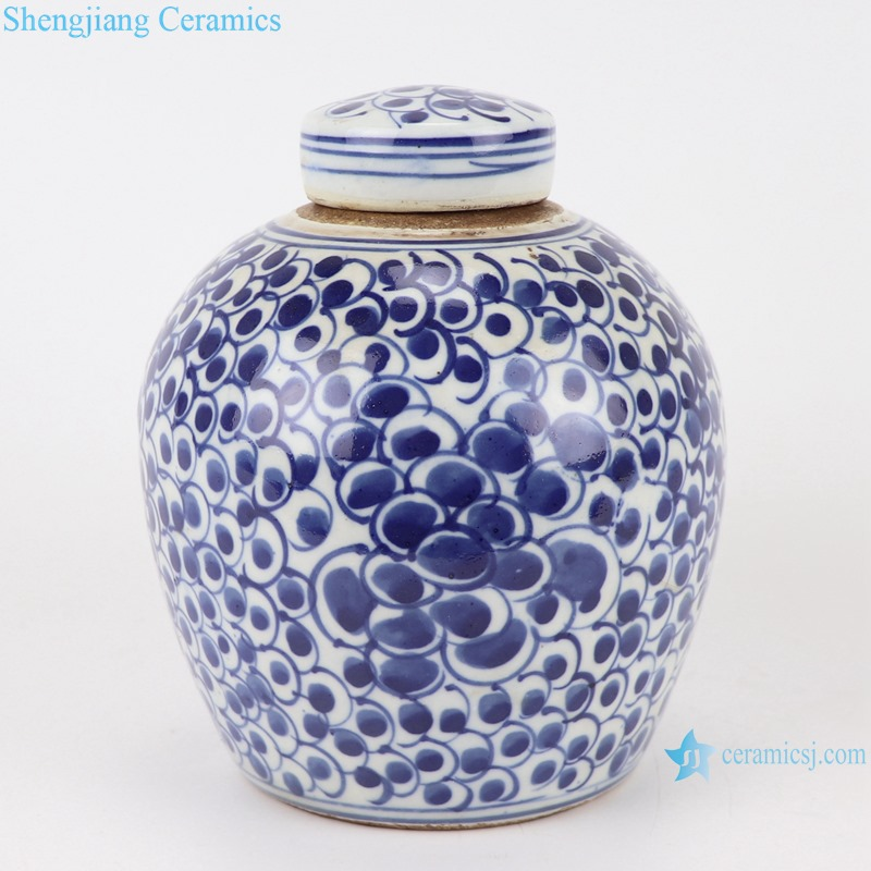 Chinese blue and white twig phoenix simple pattern ceramic pots RZKT10-N