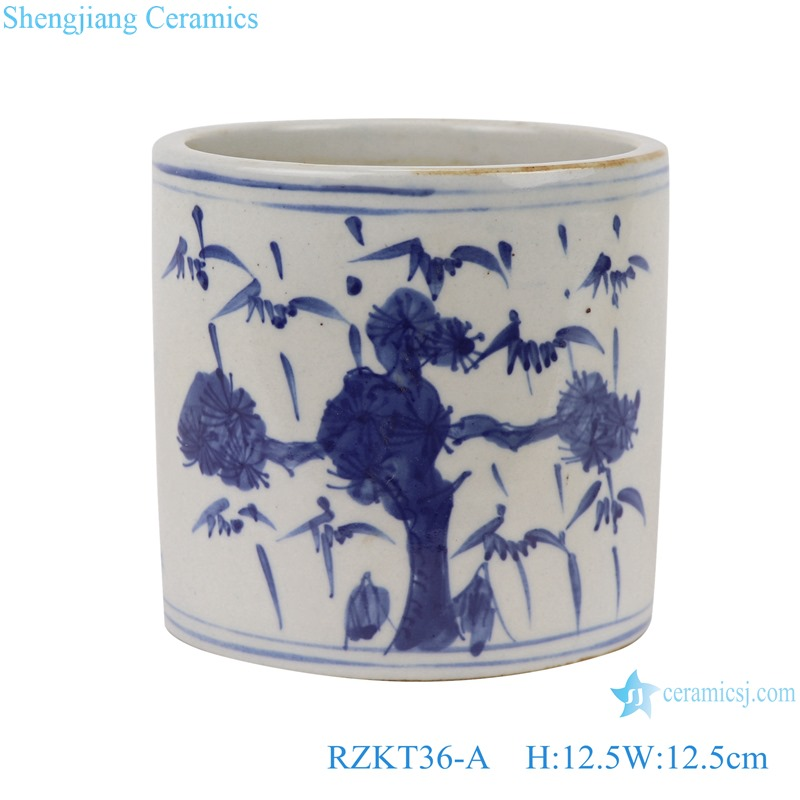 Chinese blue and white ceramic tree pattern pen container RZKT36-A