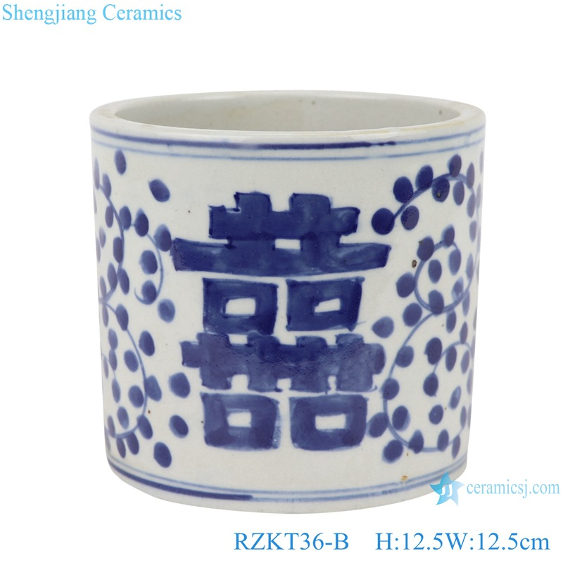 Chinese blue and white ceramic happy word pattern pen container RZKT36-B
