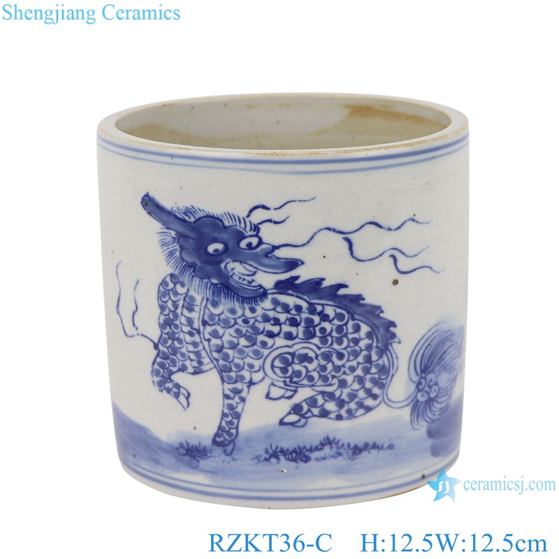 Chinese blue and white ceramic dragon pattern pen container RZKT36-C