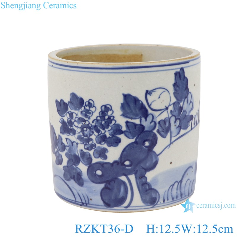 Chinese blue and white ceramic flower pattern pen container RZKT36-D