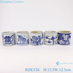 RZKT36-Series Chinese blue and white ceramic pot multi-pattern sets pen container