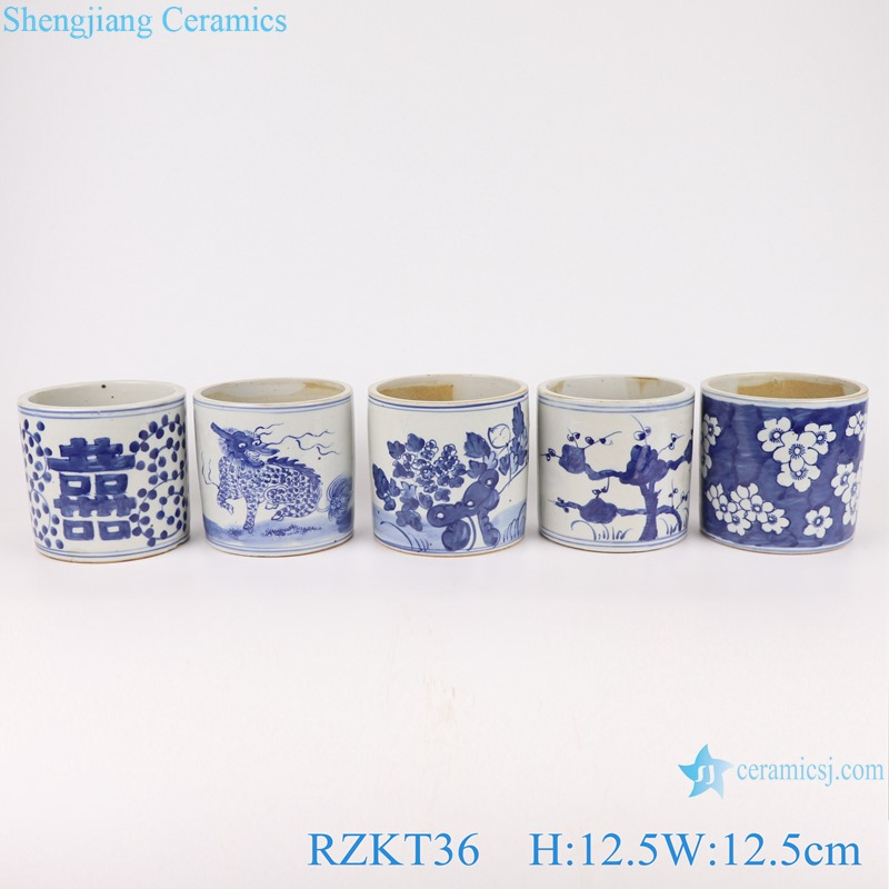 Chinese blue and white porcelain pot multi-pattern sets pen container RZKT36-Series