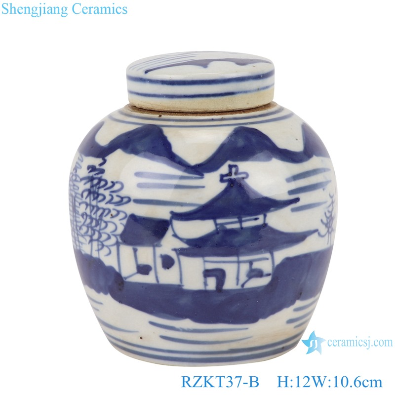Chinese blue and white multi-pattern ceramic storage pot set RZKT37-B