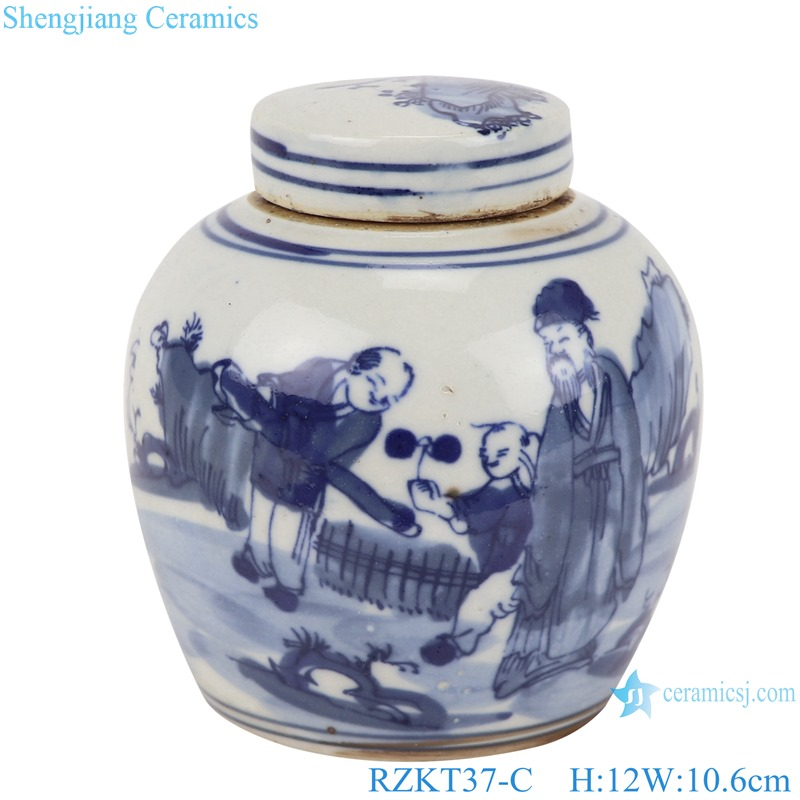 Chinese blue and white multi-pattern ceramic storage pot set RZKT37-C