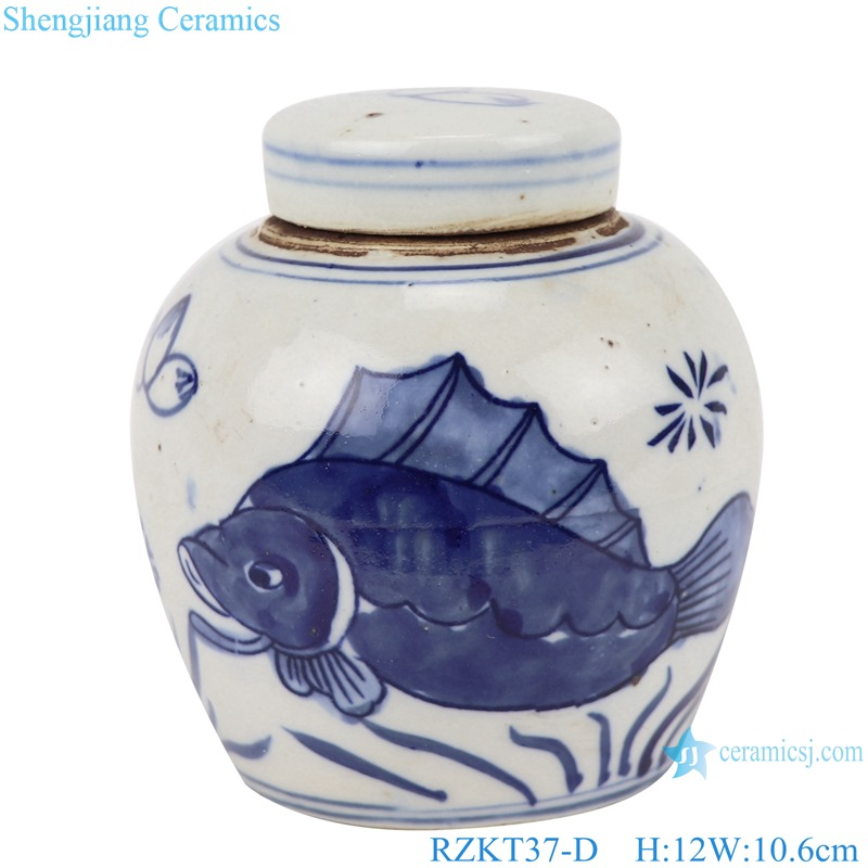 Chinese blue and white multi-pattern ceramic storage pot set RZKT37-D