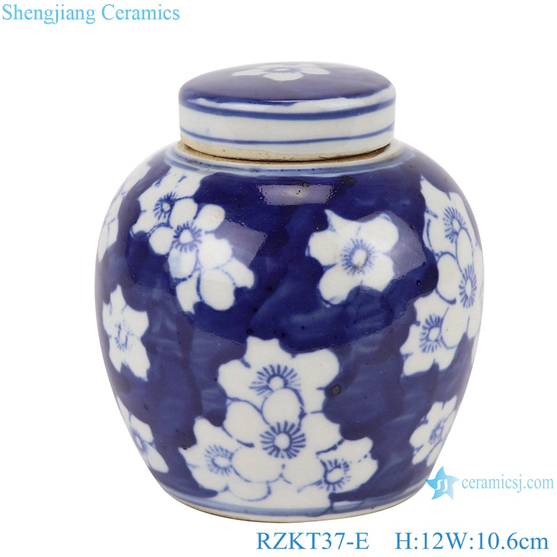 Chinese blue and white multi-pattern ceramic storage pot set RZKT37-E