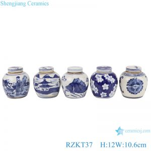 RZKT37-Series Chinese blue and white multi-pattern ceramic storage pot set