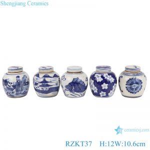 RZKT37-Series Chinese blue and white multi-pattern ceramic storage pot set