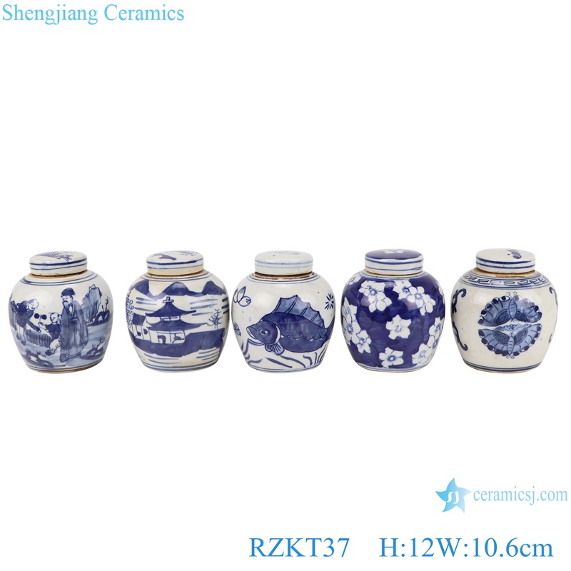 Chinese blue and white multi-pattern ceramic storage pot set RZKT37-Series
