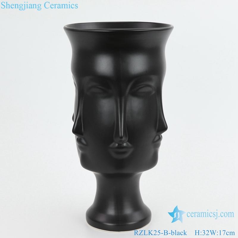 RZLK25 B Chinese ceramics black fcae vase