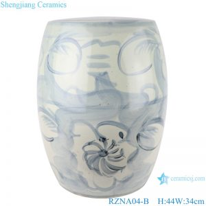 RZNA04-B Chinese handmade light blue pattern ceramic stool