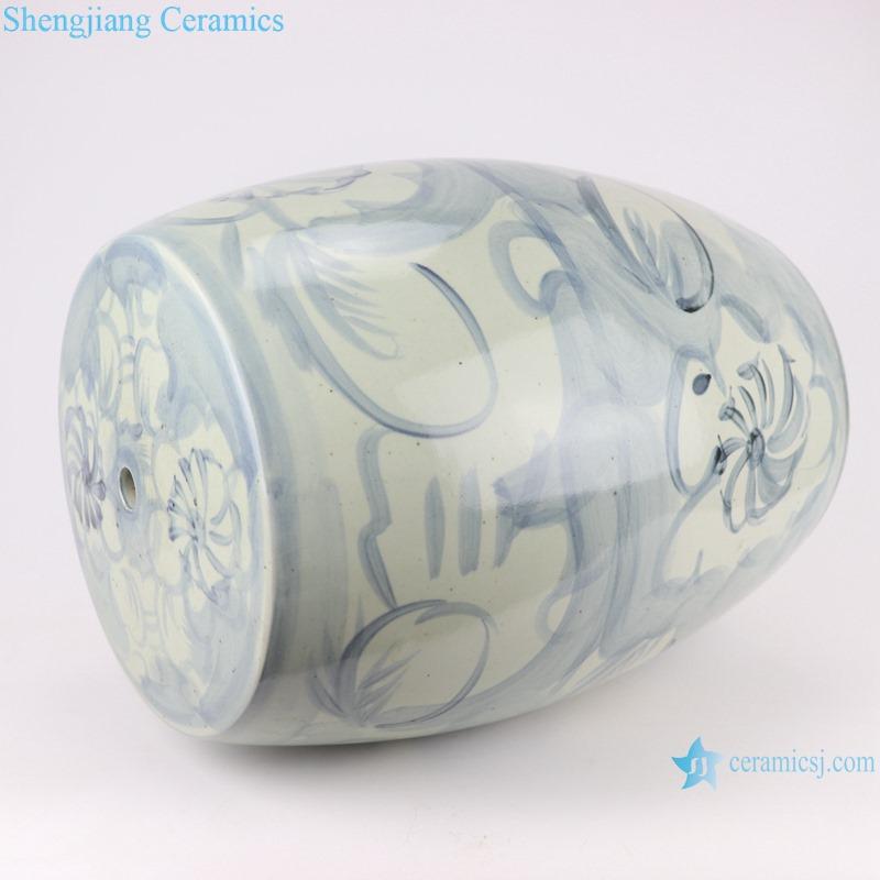 Chinese handmade light blue pattern ceramic stools RZNA04-B