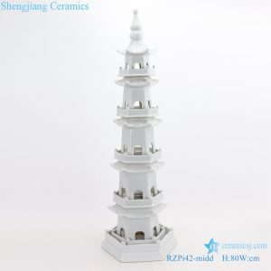 RZPi42 WHITE ancient times pure hand made ceramic decorative pagoda