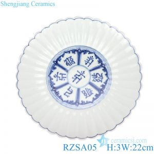 RZSA05 BIUE AND WHITE DEVANAGARI AND LOTUS DESIGN PLATE