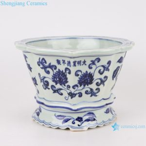 RZSB01 bule and white flower design ceramic planter decoration
