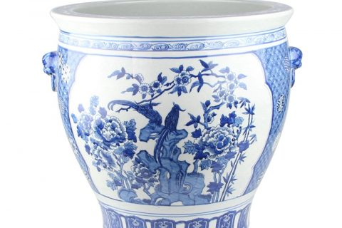 RYLU176-G Chinese blue and white flower bird design pot with two ears
