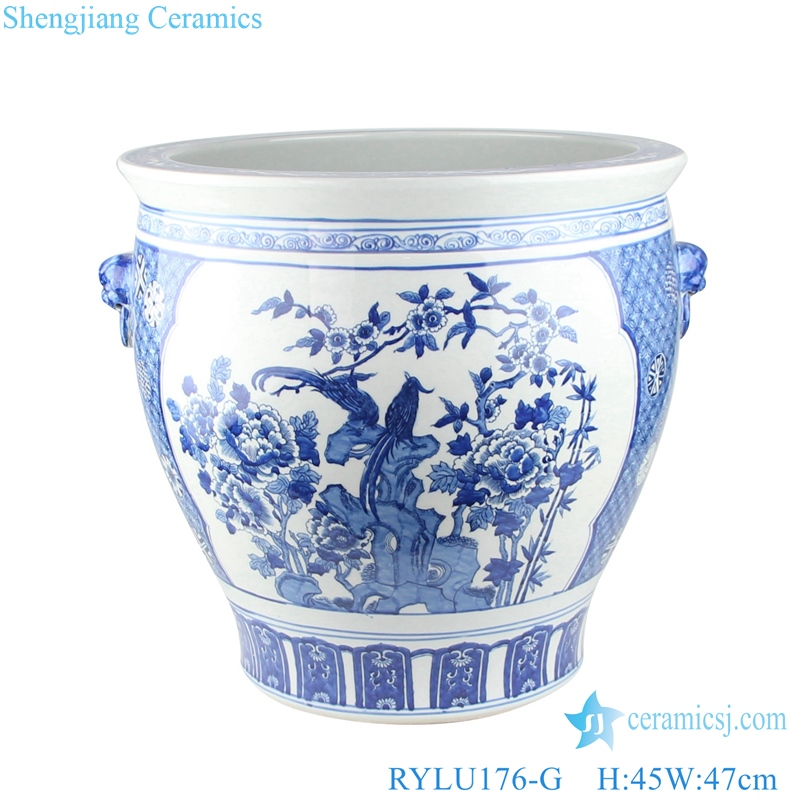 Chinese blue and white flower bird design ceramic pot with two ears RYLU176-G