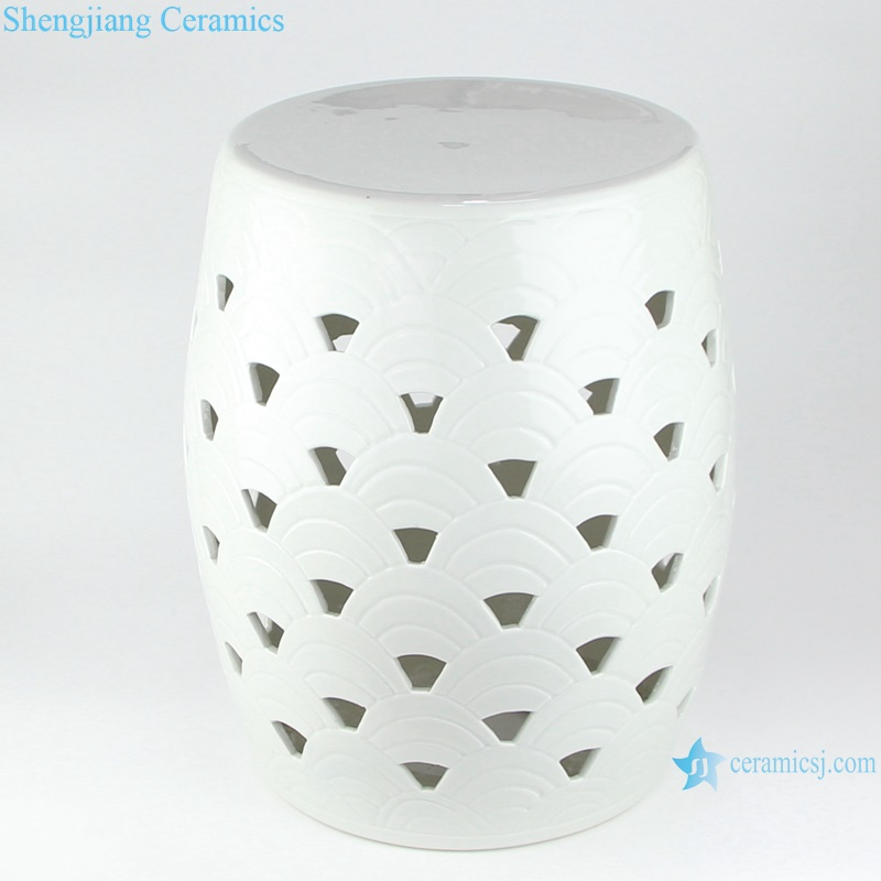 RYNQ262 hot sale pure white color ceramic garden stool