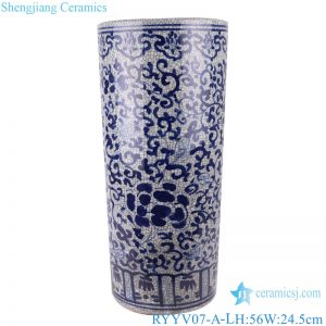 RYYV07-A-L Chinese handmade blue and white decorative crack ceramic vase