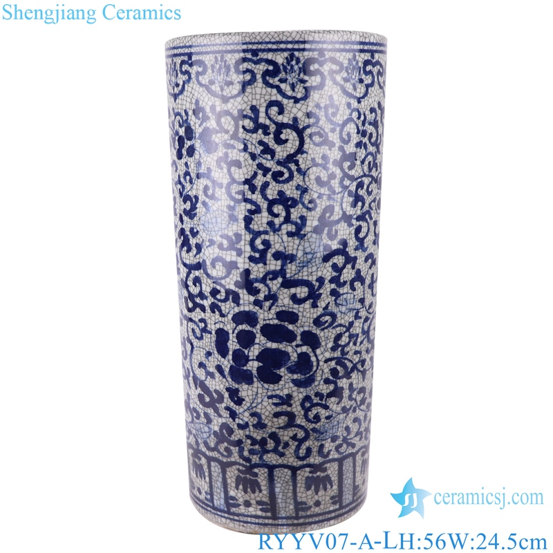 Chinese handmade blue and white decorative crack porcelain vase RYYV07-A-L