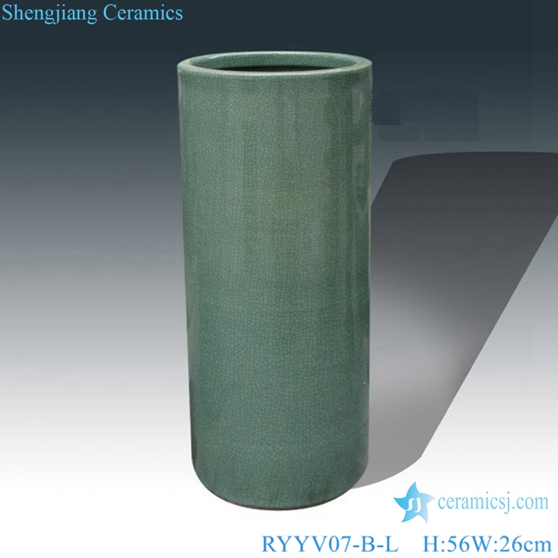 Chinese handmade decorative porcelain vase green color RYYV07-B-L