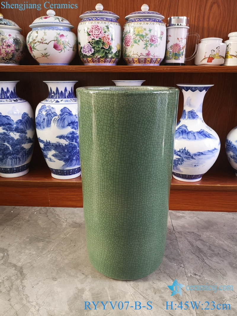 Chinese handmade decorative porcelain vase green color RYYV07-B-S
