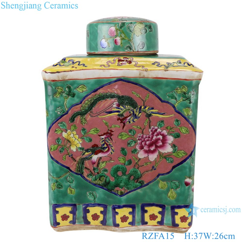 Chinese handmade powdery ceramic square ceramic storage tank RZFA15