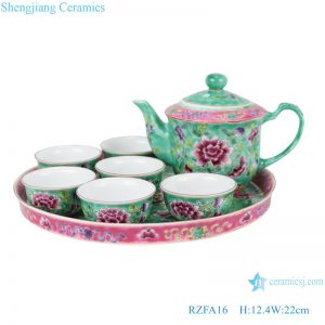 RZFA16 Chinese handmade powder enamel teapot and teacup set